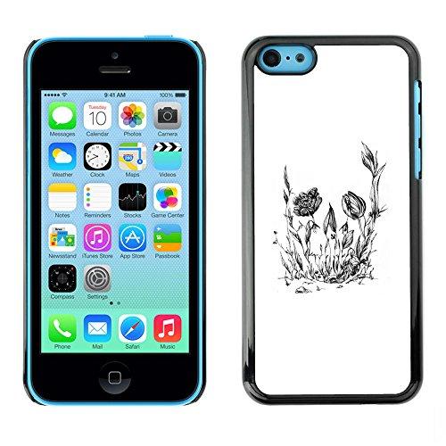 Dur PC Housse de protection téléphone cellulaire Etui Hard Protective Case Smartphone Cover for iPhone 5C // Crâne floral Fleur // CooleCell