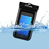 Floating Waterproof Case Pouch, CaliCase® [Universal] [Black] - Perfect for Boating / Kayaking / Rafting / Swimming, Dry Bag Protects your Cell Phone and valuables - IPX8 Certified to 100 Feet