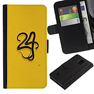 Billetera de Cuero Caso Titular de la tarjeta Carcasa Funda para Samsung Galaxy S5 Mini, SM-G800, NOT S5 REGULAR! / 34 Yellow Minimalist Number / STRONG