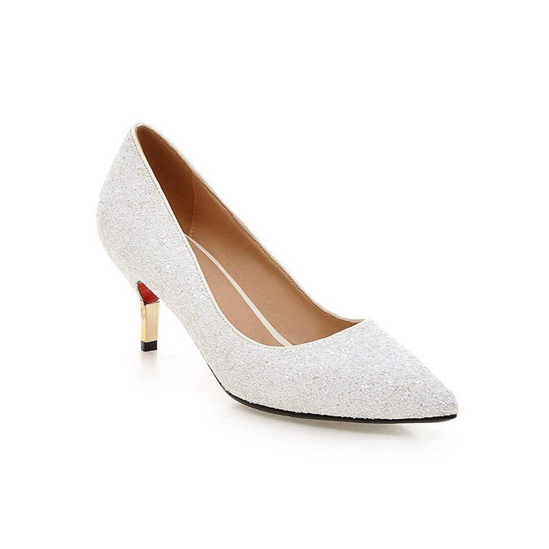 BalaMasa Girls Slip-On Kitten-Heels Solid Pearl Fabric Pumps-Shoes