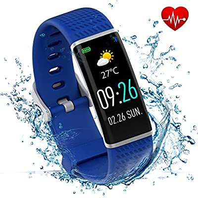 Wisenovo Full Color Touch Screen Fitness Tracker with Heart Rate and Blood Pressure Monitor,Newest Pretty Stylish R01 Fitness Watch Activity Tracker IP68 Waterproof for Kids Man Women