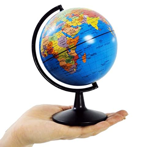 World Globe, Desktop World Globe with Blue Oceans - Educational Geographic Learning Toy