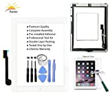 Sunny Original iPad 3 Replacement Screen Touch Screen Glass Assembly (Original White) - Includes Home Button Camera Holder Pre Installed Adhesive Stickers Bezel Frame and Professional Tool Kit