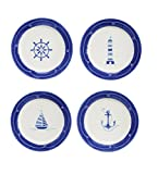 Euro Ceramica Ahoy Collection Nautical 8.7'' Ceramic Salad/Dessert Plates, Set of 4, Assorted Designs, Blue & White
