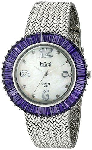 Burgi Women's BUR076BU Mother-Of-Pearl Diamond and Baguette Bracelet Watch