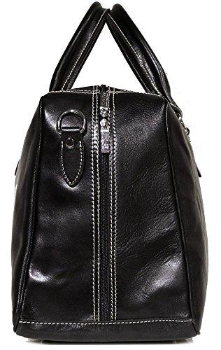 Floto Luggage Venezia Trunk Duffle Bag in Black Leather