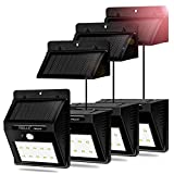 Solar Lights, FEELLE 10 LED Solar Motion Sensor Lights with Separable Solar Panel Outdoor Waterproof Solar Security Lights for Patio, Deck, Yard, Garden - 4 Pack