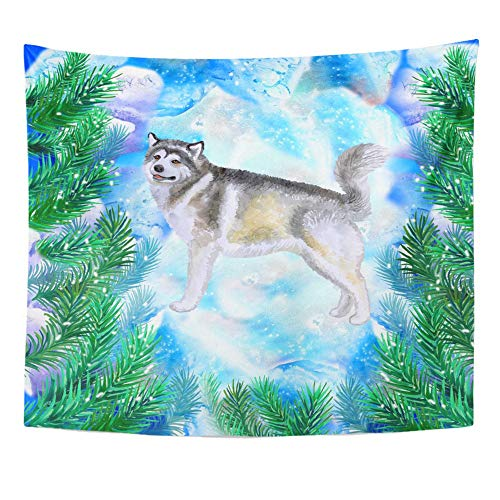 Emvency Tapestry Polyester Fabric Print Home Decor Alaskan Malamute Symbol of New Year and Christmas with Fir Tree Branches Cute Wall Hanging Tapestry for Living Room Bedroom Dorm 50x60 Inches Alaskan Fir Christmas Tree