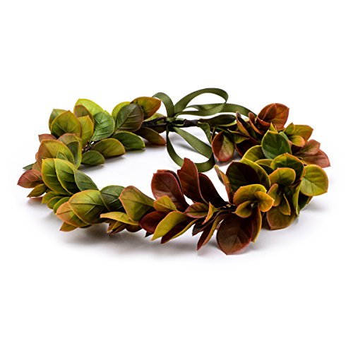 Floral Fall Christmas Flower Crown Vintage Nature Berries Festival Woodland Wedding Headband HD-02 (Green Fall (Leaf Crown)