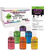 6 Neon Colors Food Coloring Liqua-Gel Decorating Kit – U.S. Art Supply Food Grade, 0.75 fl. oz. (20ml) Bottles, Non-Toxic Neon Colors