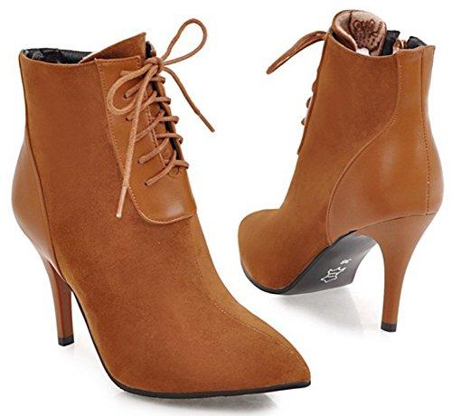 Aisun Womens Elegante Jurk Lace Up Inside Zip Up Puntschoen Booties Hoge Stiletto Hakken Enkellaars Schoenen Met Rits Brown