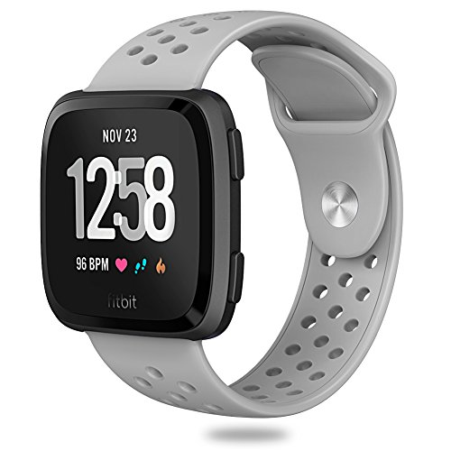 Hagibis Compatible Fitbit Versa Bands Sport Silicone Replacement Breathable Strap Bands New Fitbit Versa Smart Fitness Watch (Light Grey)