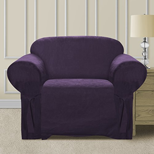 CLEAR OUT SALE  Elegant and Comfortable P&R Bedding Microsuede Sofa Furniture Slipcover (Purple, Chair) (Chairs For Sale)
