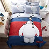 CASA 100% Cotton Kids Bedding Set Boys Big Hero 6 Baymax Duvet cover and Pillow cases and Flat sheet,4 Pieces,King