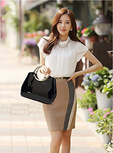 bag Tisdaini Women's Messenger wallet shoulder handbag ladies Black patent handbag leather bag fashion leather qTxAv4rqw