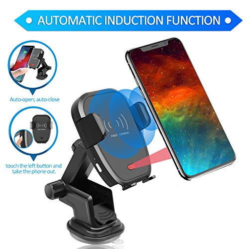(Pufya Wireless Car Charger Mount Air Vent Windshield Dashboard Phone Holder Infrared Motion Sensor Automatic Open and Clamp One-Hand Operation for Safe Driving Compatible with All Qi Enabled Phone)