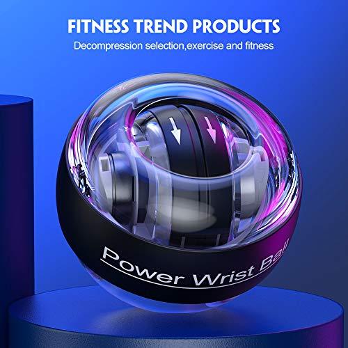 TimeSport Upgraded Auto-Start Power Wrist Ball Spinner Gyro Hand Grip Strengthener Wrist Forearm Exerciser with LED Lights (Black)