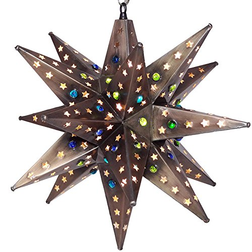 Moravian Star Light, Star Pierced Tin, Bronze with Marbles, 18'' by DuDa Home Decor