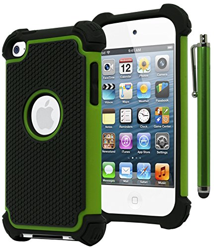 Bastex Hybrid Armor Case for Apple iPod Touch 4, 4th Generation - Neon Green+BlackINCLUDES Stylus (Neon Ipod Cases)