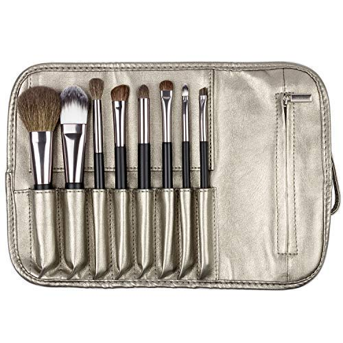 (Matto Travel Makeup Brush Set 8-Piece Makeup Brushes with Travel Pouch Bag Including 5 Nature Goat Hairs and 3 Synthetic Fibers Make Up Brushes)