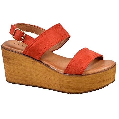 Orange Wedge Peep Ankle Flatforms Chaussures Plateforme Ladies Toe Nouveau Womens Sandales Strap E8InPw