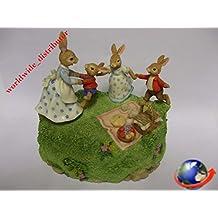 Royal Doulton Bunnykins PICNIC TIME WITH THE BUNNYKINS FAMILY MUSICAL DBR 15 Handpainted Polyresin Matt Finish Figurine