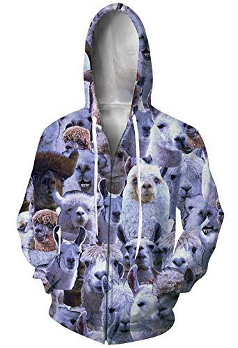 Goodstoworld 3D Zip Alpaca Hoodie Full Print Designer Hoodies 3D Graphic - Zip Jacket Print Animal