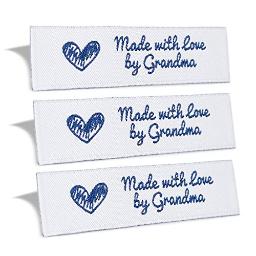 (Wunderlabel Made with Love by Grandma Crafting Fashion Granny Grandmother Woven Ribbon Tag Clothing Sewing Clothes Garment Fabric Material Embroidered Label Labels Tags, Blue on White, 25 Labels)