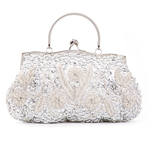 Baglamor Beaded Sequin Design Metal Frame Kissing Lock Satin Interior Evening Clutch(Silver) -