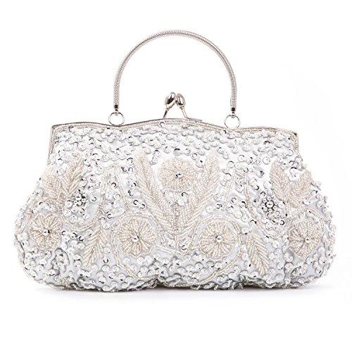 KISSCHIC Vintage Beaded Sequin Design Clutch Purse Evening Bag (Silver)
