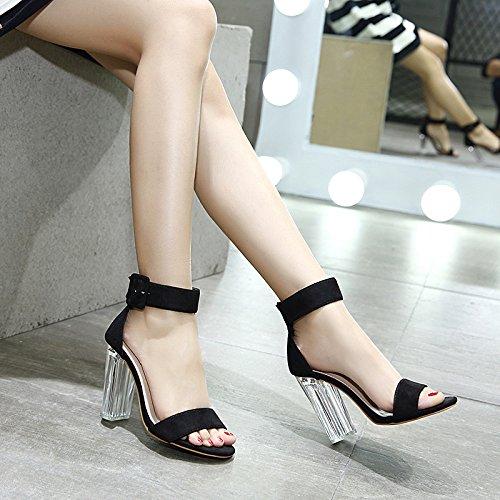 RUGAI-UE Damen Sandalen Sommer 10cm Kristall Kristall Kristall und Sandalen Wildleder Toe Toe hochhackige Schuhe. de5252
