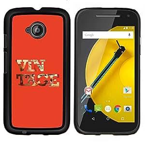 YiPhone /// Prima de resorte delgada de la cubierta del caso de Shell Armor - Vintage texto fresco Red Old School de Orange - Motorola Moto E2 E2nd Gen