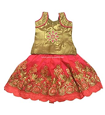 03d1533f5d5b3c Pattu Pavadai Ethnic Wear Lehenga Choli Netted Designer Pink Langa with  Blouse with Golden Top: Amazon.in: Clothing & Accessories