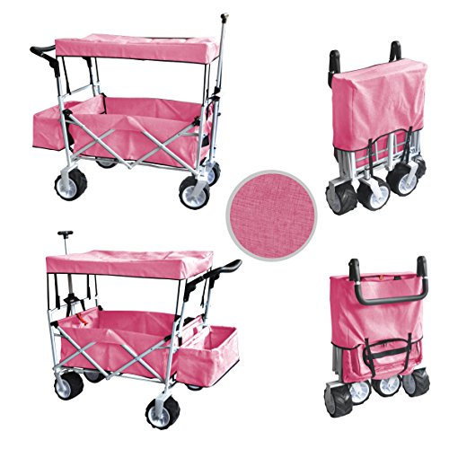 PINK JUMBO WHEEL PUSH AND PULL HANDLE FOLDING WAGON ALL PURPOSE GARDEN UTILITY BEACH SHOPPING TRAVEL CART OUTDOOR SPORT COLLAPSIBLE WITH CANOPY COVER FREE ICE COOLER BAG - EASY SETUP NO TOOL NECESSARY (Push Buggy Around Pink)