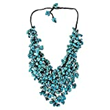 AeraVida Handmade Simulated Turquoise Waterfall On Cotton Wax Rope Bib-Style Statement Toggle Necklace
