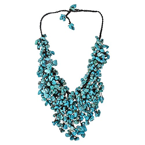 Handmade Simulated Turquoise Waterfall On Cotton Wax Rope Bib-Style Statement Toggle Necklace (Bib Waterfall Necklace)