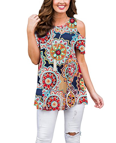 Cold Top Shoulder Floral (XUERRY Women's Swing Floral Print Casual Cold Shoulder Tunic Tops Short Sleeve Loose Blouse Shirts (Multicolored, M))