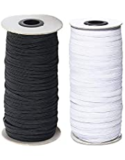 WSERE 200 Yards Braided Elastic Band Cord Stretch Rope Bungee for Sewing Crafts DIY, 6mm Wide Black & White High Elasticity Flat Stretch Knit Elastic Cord Strap String