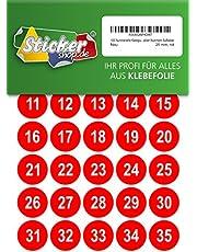100 puntos adhesivos numerados, 25 mm, rojo, de PVC, resistente a la intemperie, puntos de marcado, puntos, números, pegatinas