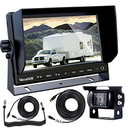 Backup Camera Kit for RVs Trailers Trucks, 7 Inch Wide Screen Monitor with Night Vision IP68 Waterproof Backup Camera for RV Trailers, Semi Truck, Pickup RV, Tractor, Camper, Van, Boat, Yacht