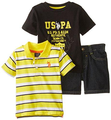 U.S. Polo Assn. Baby-Boys Newborn Stripe Polo T-Shirt and Denim Short, Gold, 6-9 Months