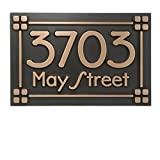 Prairie Style Craftsman Address Lines and Squares 12x8 - Raised Bronze Metal Coated House Numbers