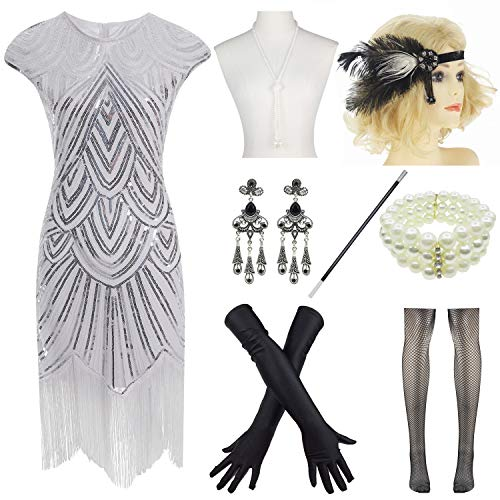Wedding Set Sequin Pearl - Women 1920s Vintage Flapper Fringe Beaded Gatsby Party Dress with 20s Accessories Set White