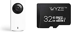 Wyze Cam Pan 1080p Pan/Tilt/Zoom Indoor Smart Home Camera with Wyze 32GB MicroSD Card Class 10