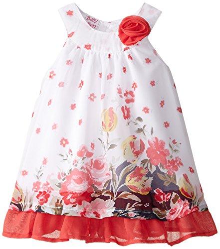 Blueberi Boulevard Baby-Girls Newborn Floral Border Chiffon Dress, Multi, 3-6 Months