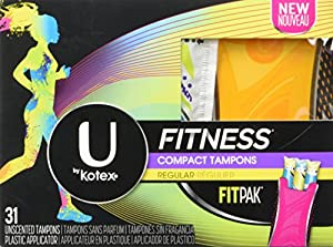 U by Kotex Unscented Regular Absorbency Fitness Tampons with Fit Pak