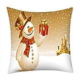 Pgojuni_Pillowcases Merry Christmas Scene Style Pillow Case Polyester Sofa Car Cushion Cover Home Decor Cover Pillow Case1pc (45cm X 45cm) (F)