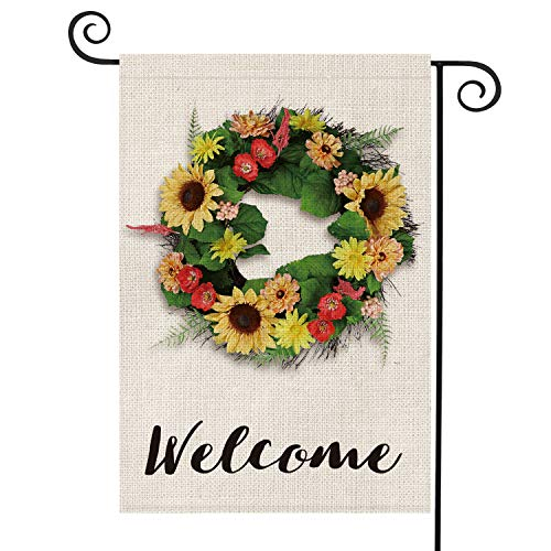 AVOIN Welcome Sunflower Poppy Zinnia Vine Wreath Garden Flag Vertical Double Sided, Seasonal Summer Rustic Farmhouse Burlap Yard Outdoor Decoration 12.5 x 18 Inch