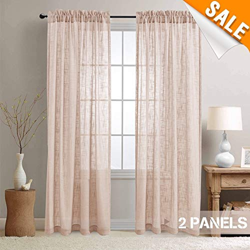 Lazzzy Sheer Voile Curtain Panels for Living Room, Open Weave Linen Like Sheer Curtains for Kitchen, Two Panels, 52-by-84 Inch, (Voile Curtain Panel)