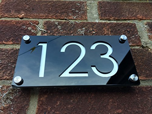 Modern House Numbers, Aluminium Effect with Black Acrylic - Contemporary Home Address - Sign Plaque - Door (Acrylic Address Plaque)
